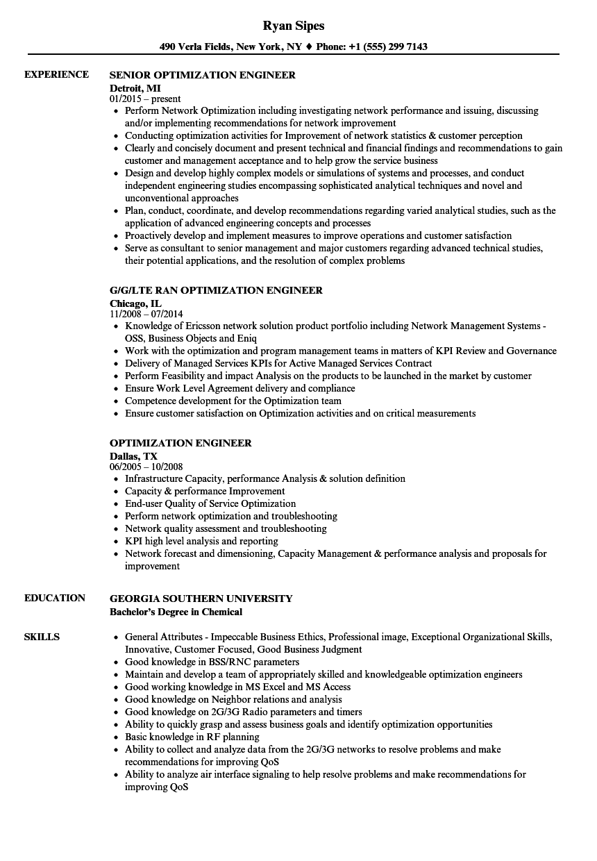 optimization engineer resume samples velvet jobs