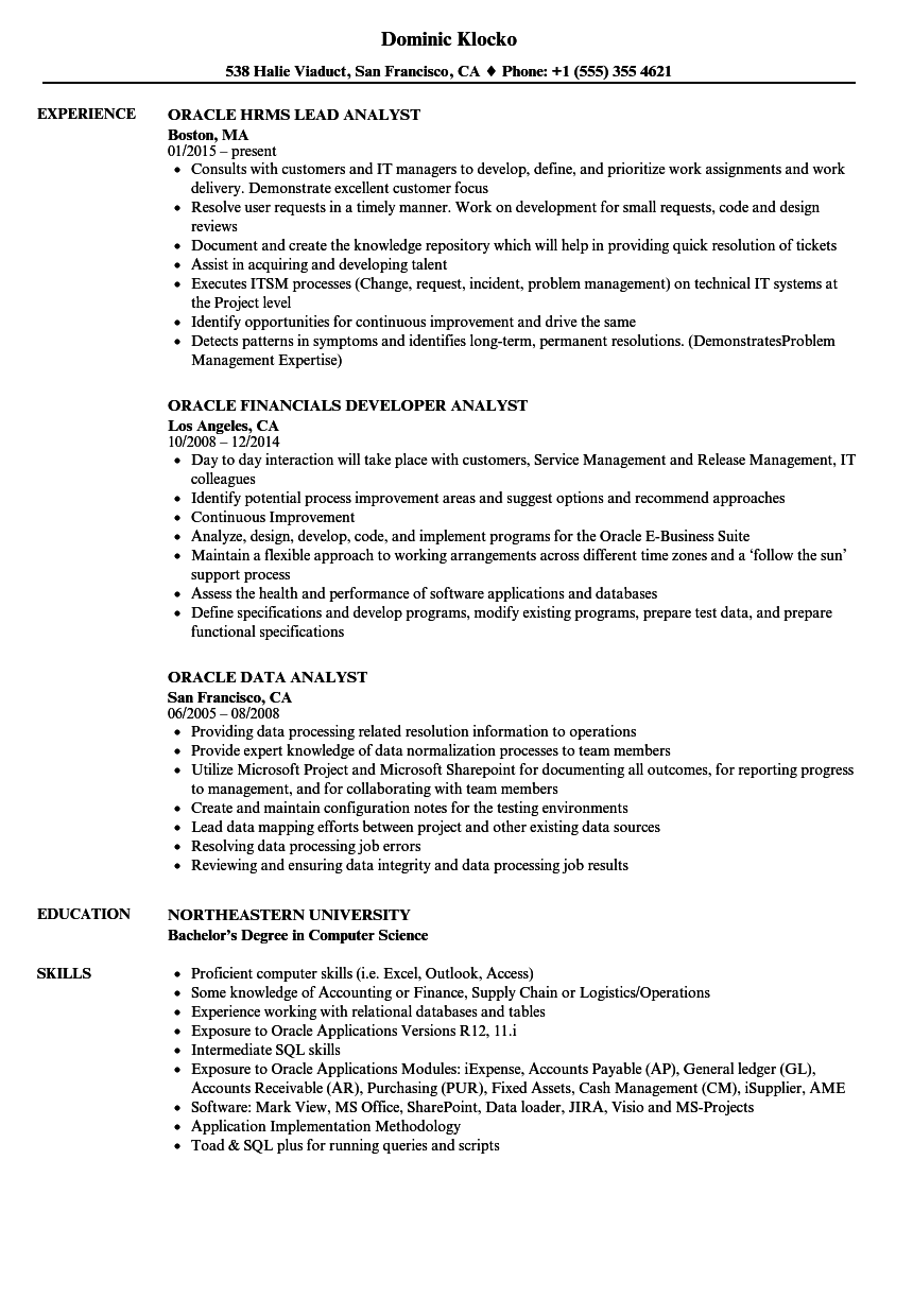 oracle analyst resume samples