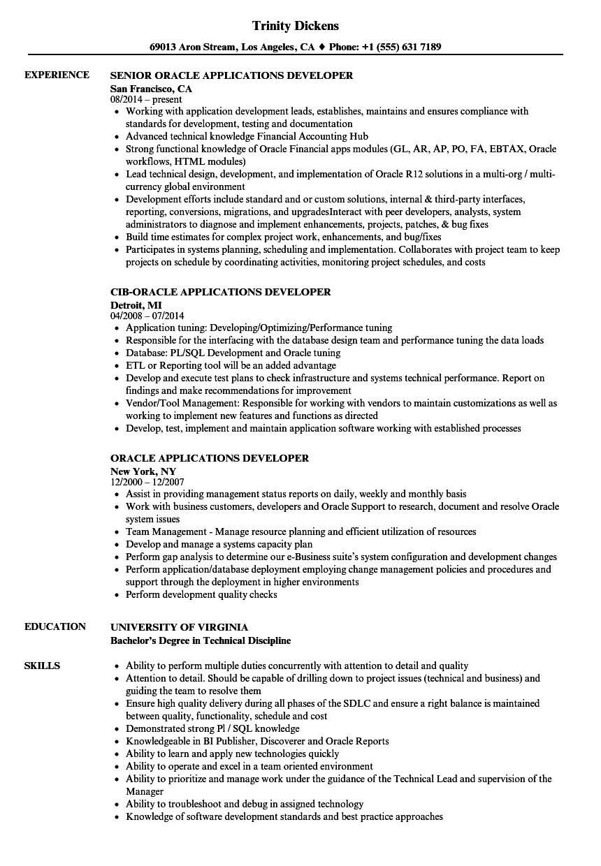 oracle applications developer resume samples