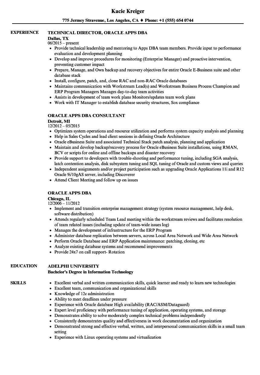Oracle Apps DBA Resume Samples | Velvet Jobs