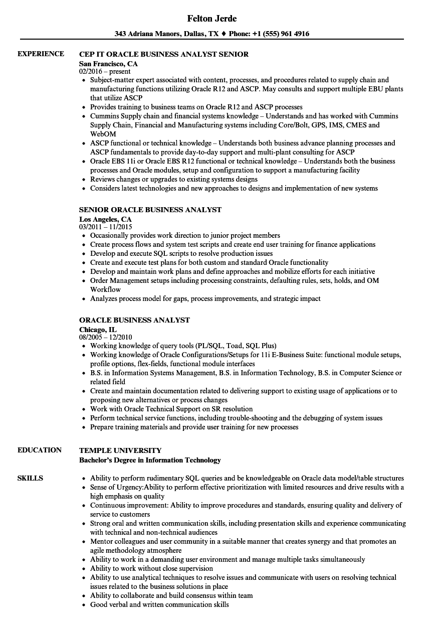 Download Oracle Business Analyst Resume Sample As Image File
