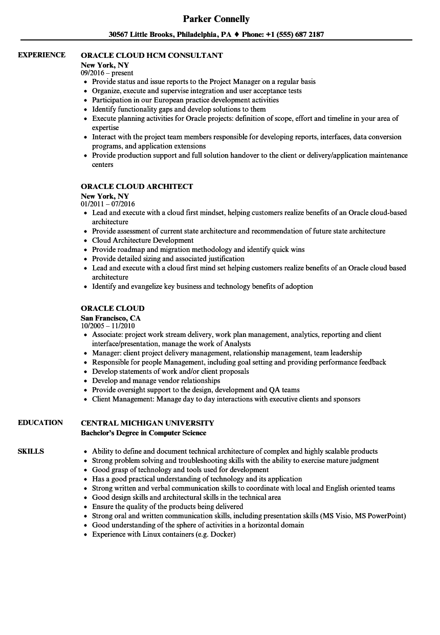 Oracle Cloud Resume Samples | Velvet Jobs
