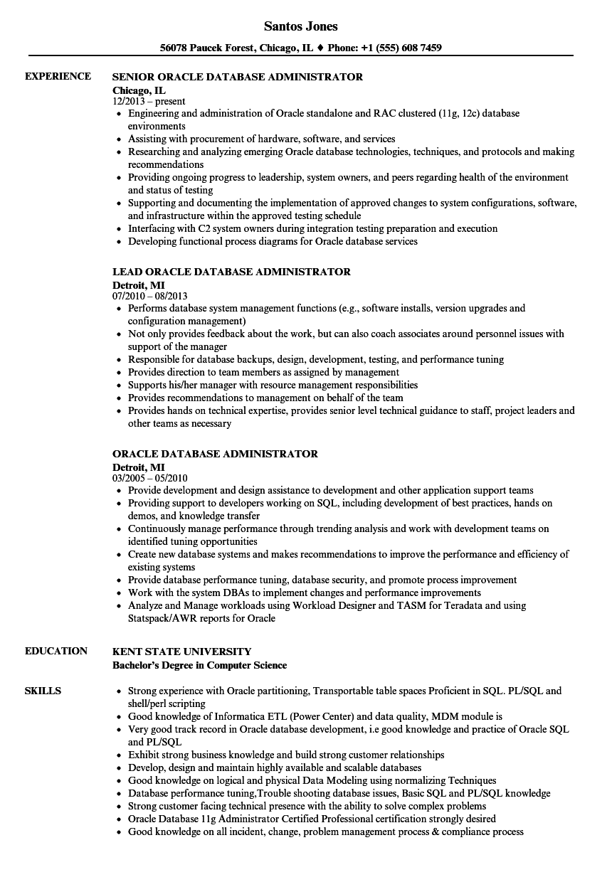 Oracle Database Administrator Resume Samples | Velvet Jobs