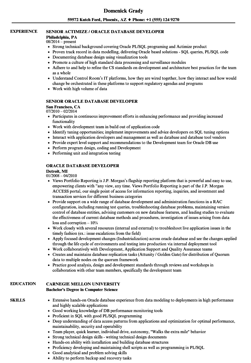 oracle database developer resume samples velvet jobs