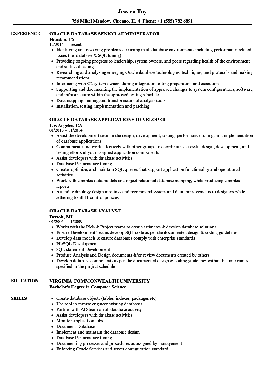 Oracle Database Resume Samples | Velvet Jobs