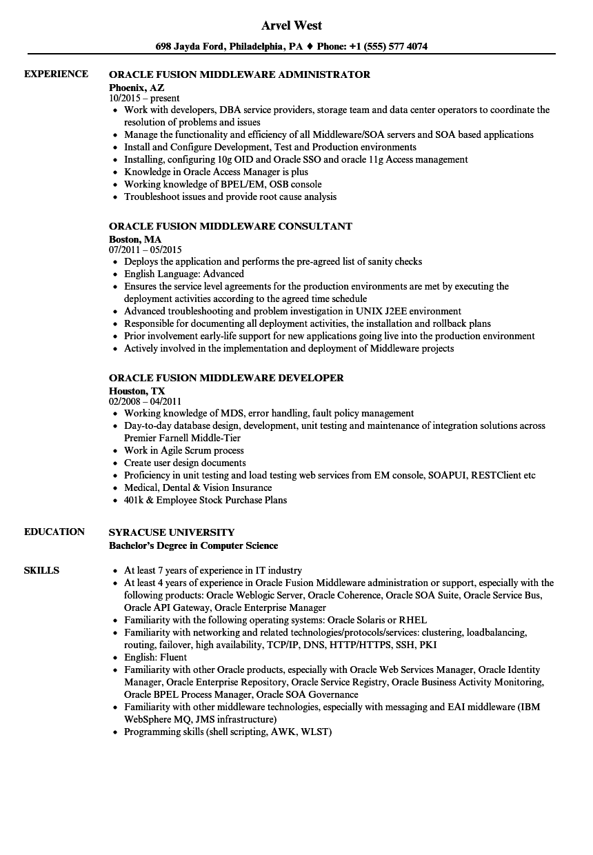 Oracle Fusion Middleware Resume Samples | Velvet Jobs
