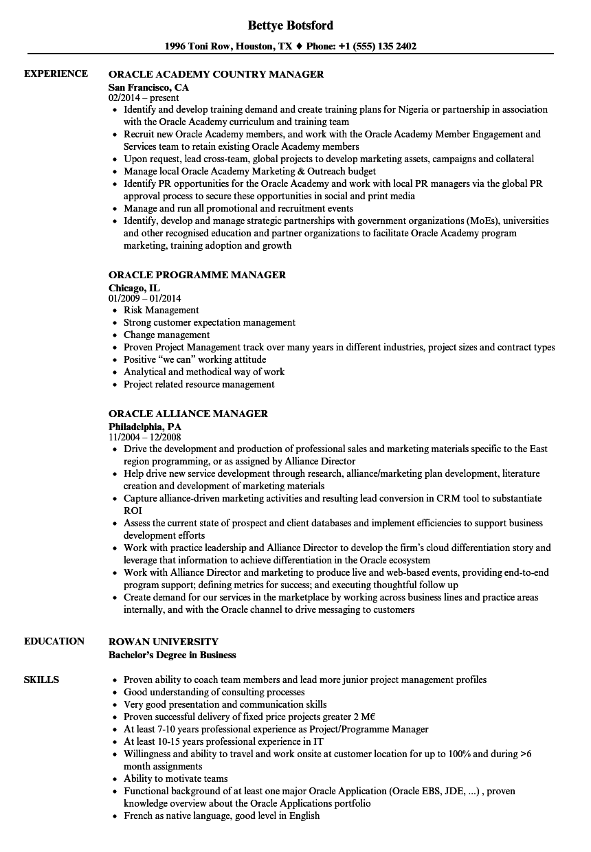 oracle manager resume samples