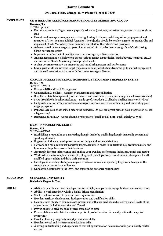 oracle marketing cloud resume samples