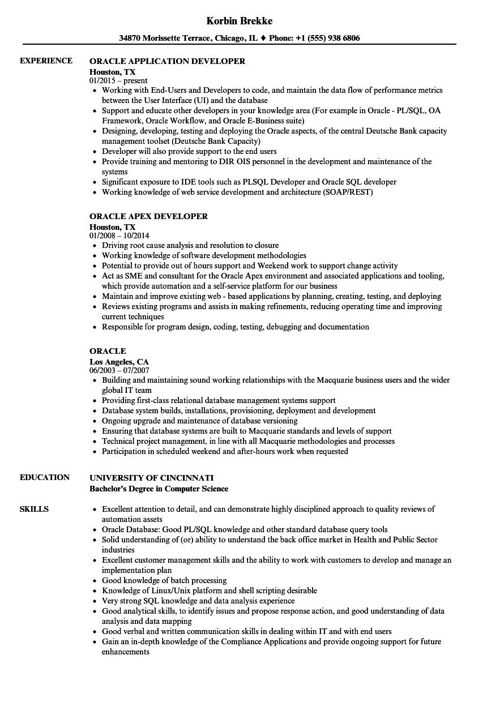 Oracle Resume Samples | Velvet Jobs