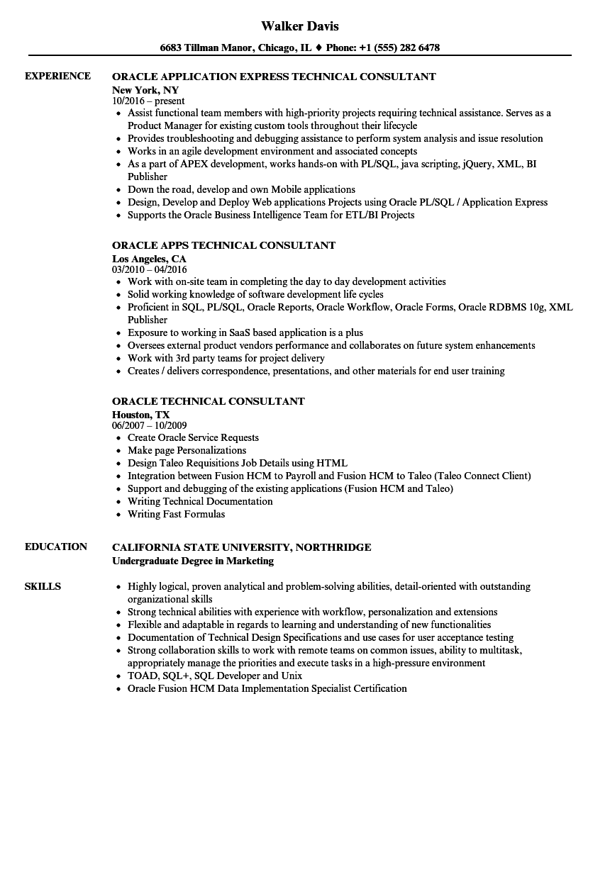 oracle technical consultant resume samples velvet jobs