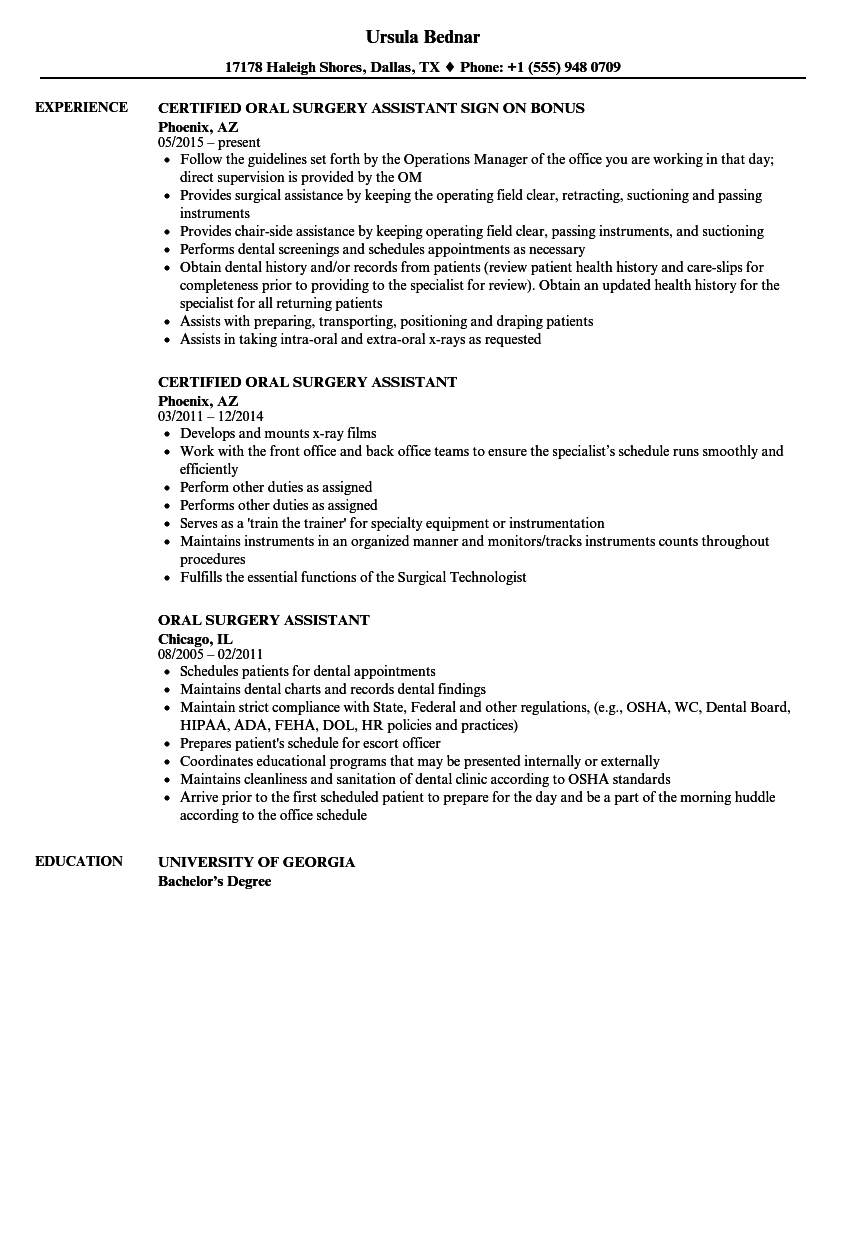 Download Oral Surgery Assistant Resume Sample As Image File