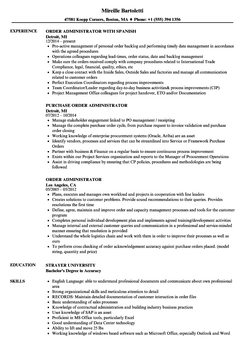 Order Administrator Resume Samples | Velvet Jobs