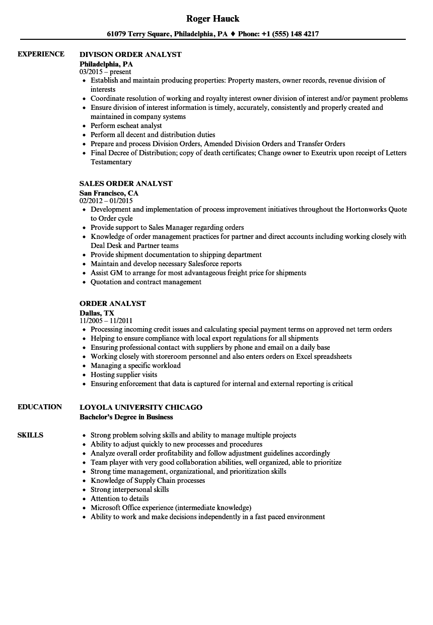 resume Order On Resume order analyst resume samples velvet jobs download sample as image file