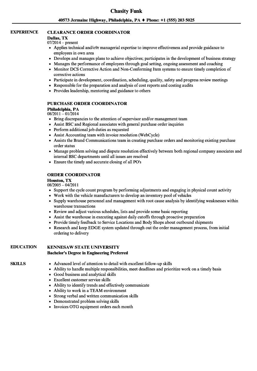 Download Order Coordinator Resume Sample As Image File