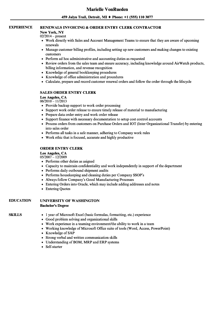 Order Entry Clerk Resume Samples | Velvet Jobs