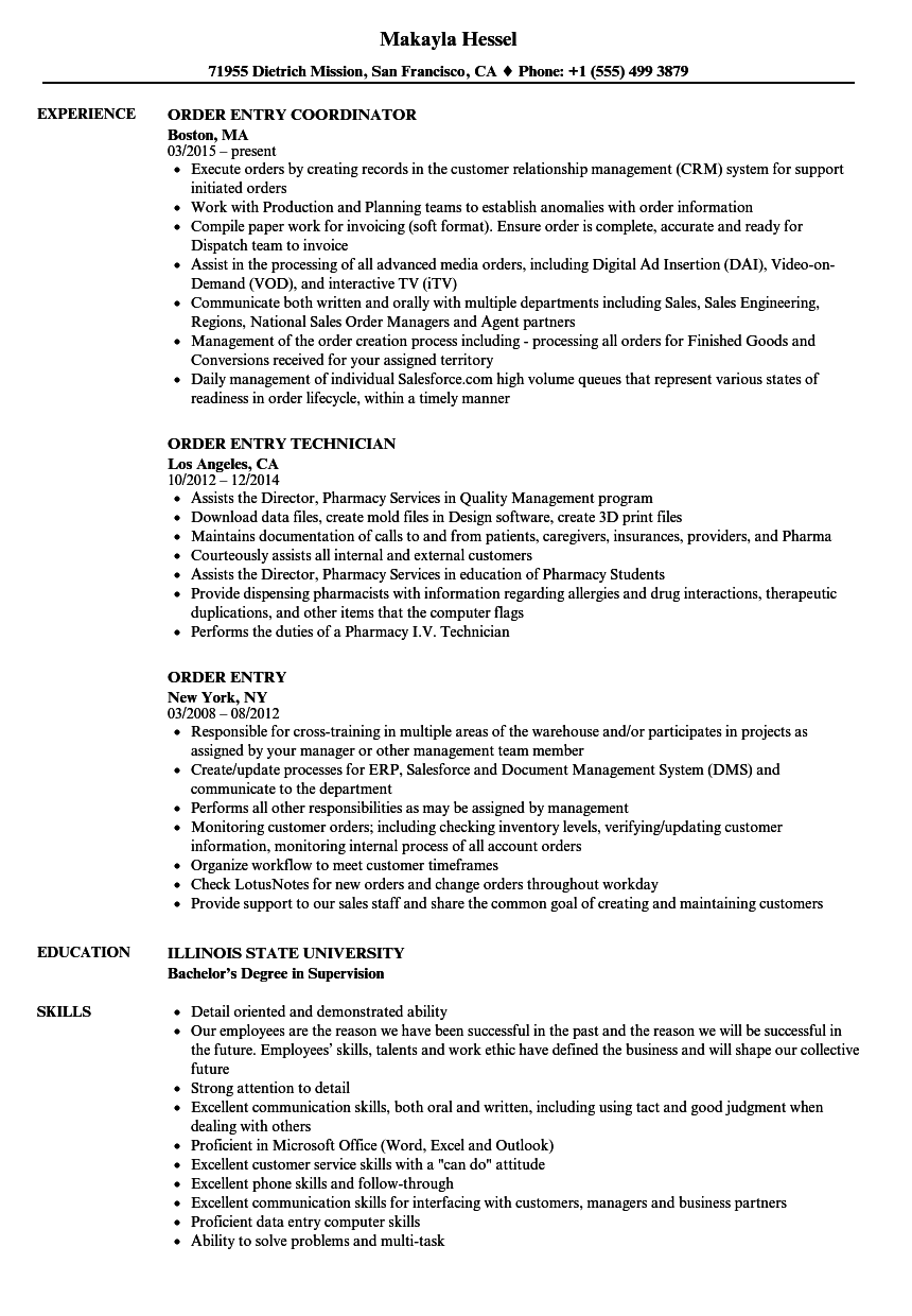 Order Entry Resume Samples Velvet Jobs