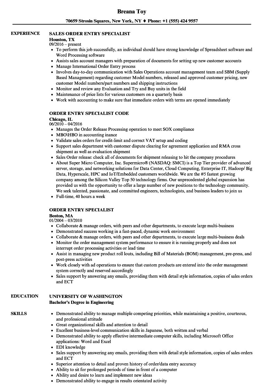 Order Entry Specialist Resume Samples Velvet Jobs