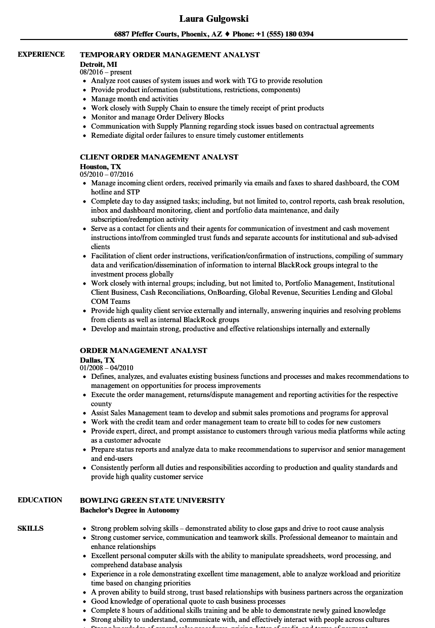 Order Management Analyst Resume Samples | Velvet Jobs