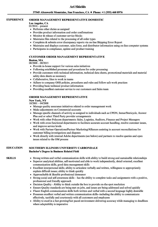 Order Management Representative Resume Samples | Velvet Jobs