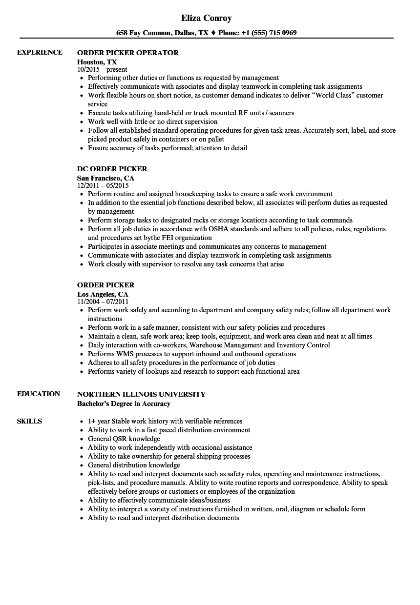 Order Picker Resume Samples Velvet Jobs
