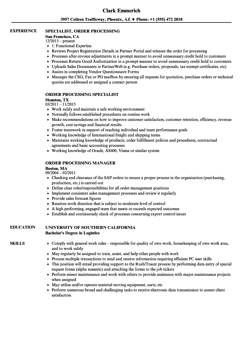 Order Processing Resume Samples | Velvet Jobs