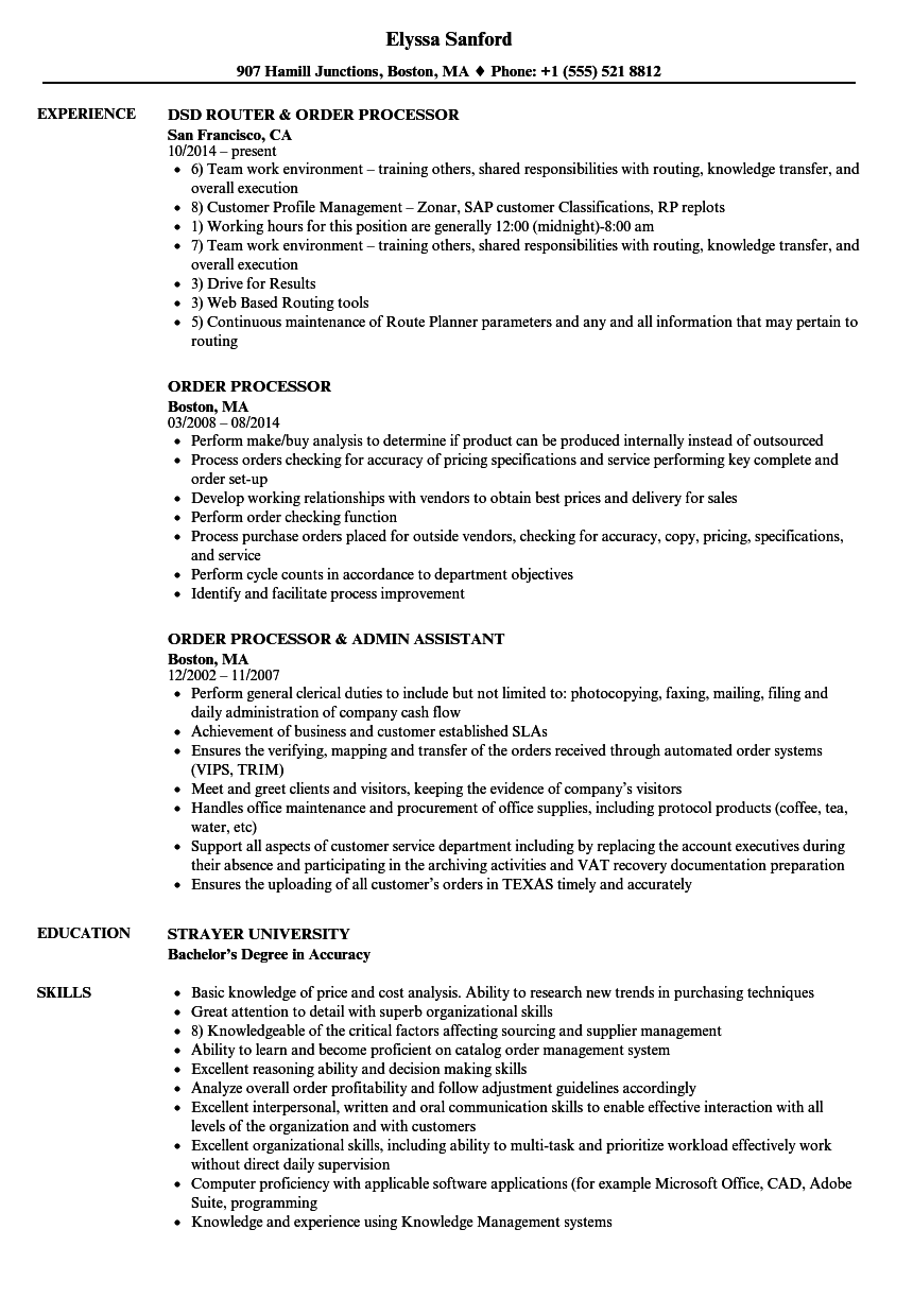 Order Processor Resume Samples Velvet Jobs