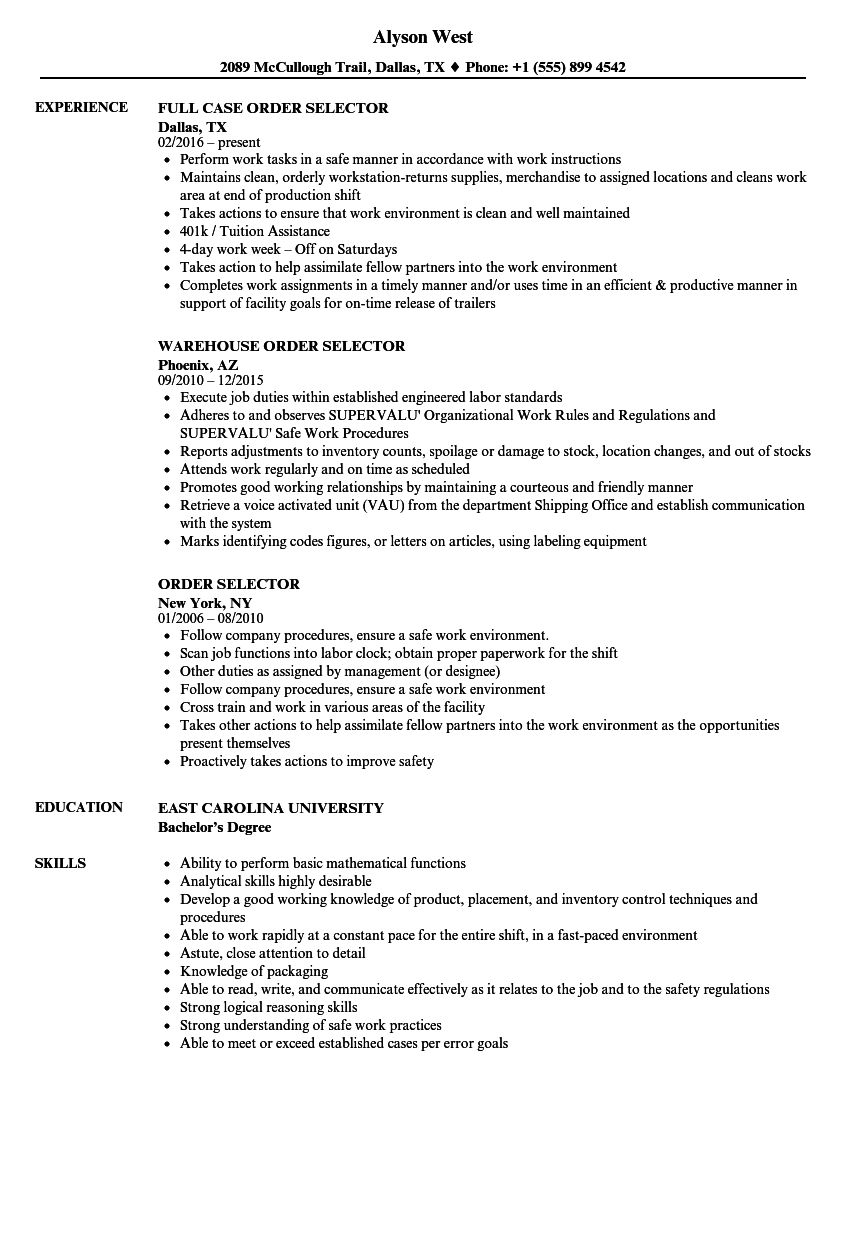 resume Order On Resume order selector resume samples velvet jobs download sample as image file
