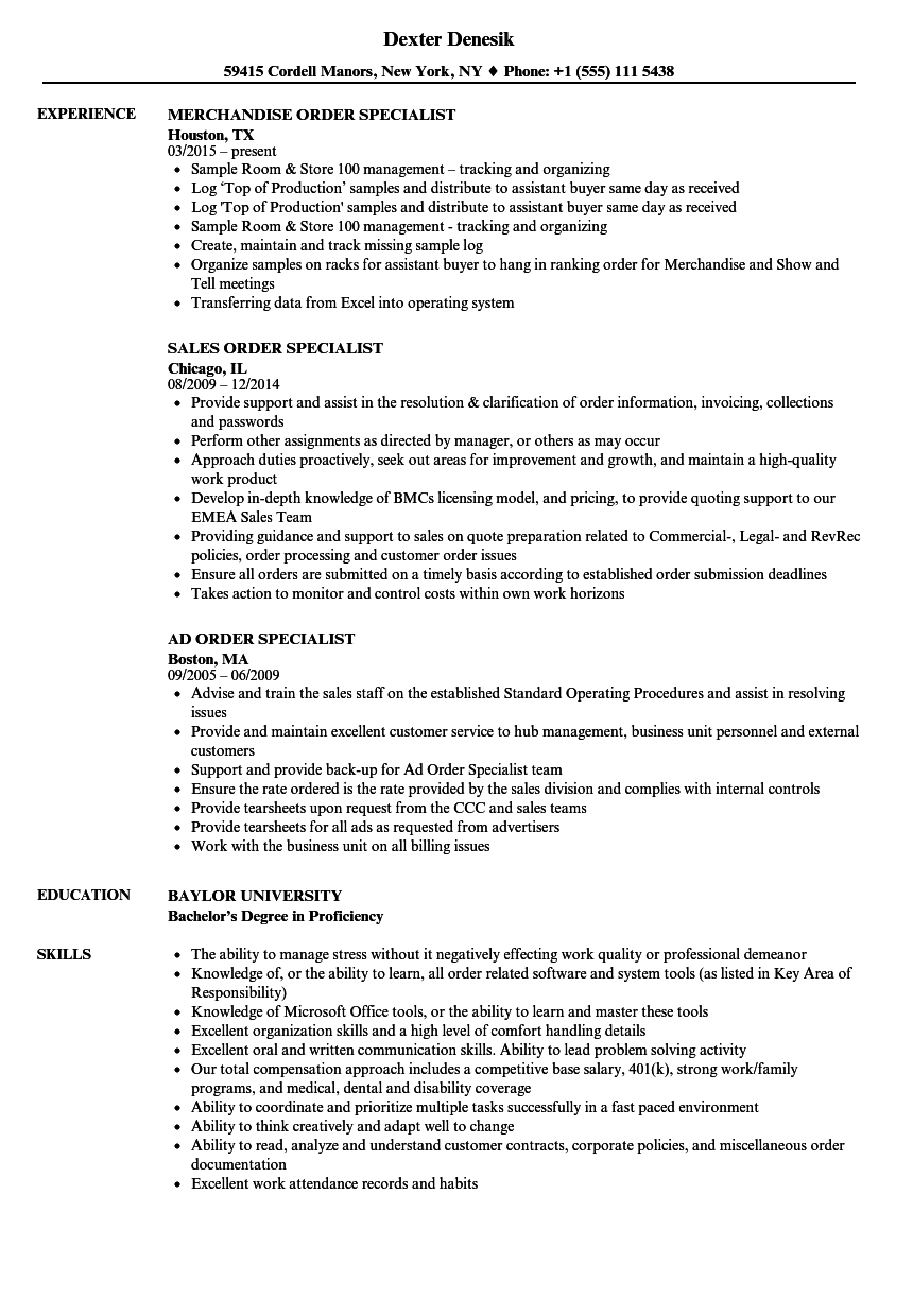 order specialist resume samples