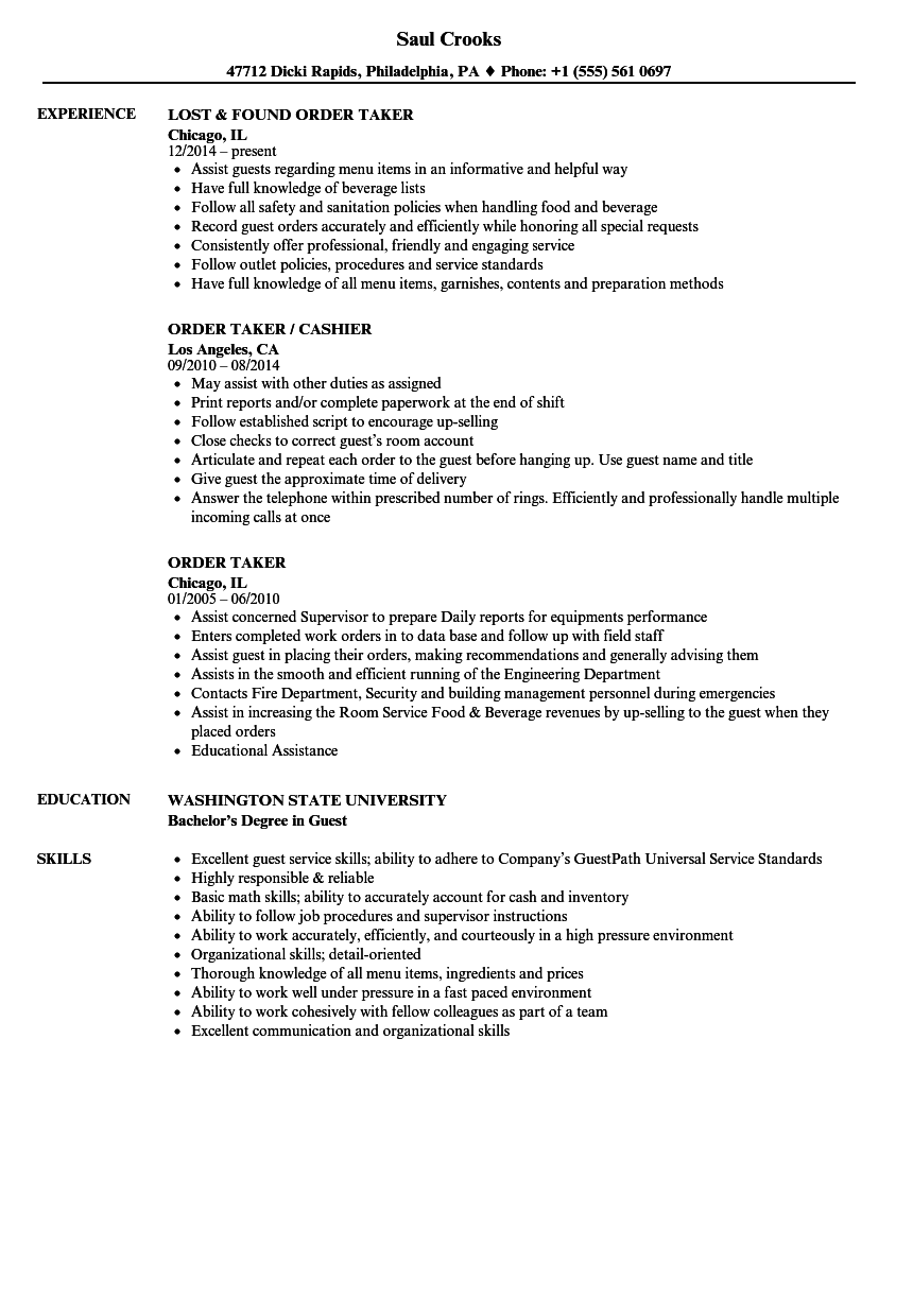 resume Order On Resume order taker resume samples velvet jobs download sample as image file