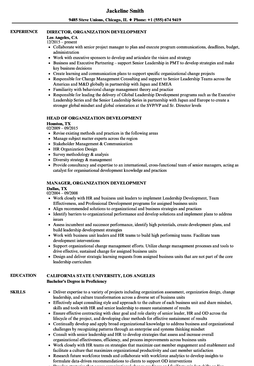 resume samples organizational skills