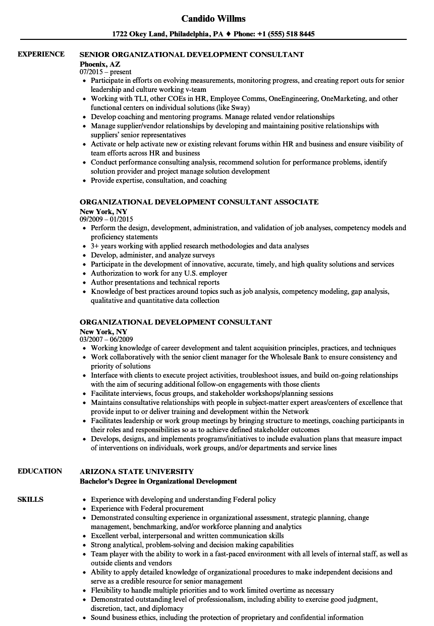 organizational development consultant resume samples