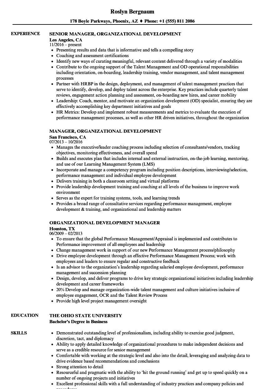 Organizational Development Resume