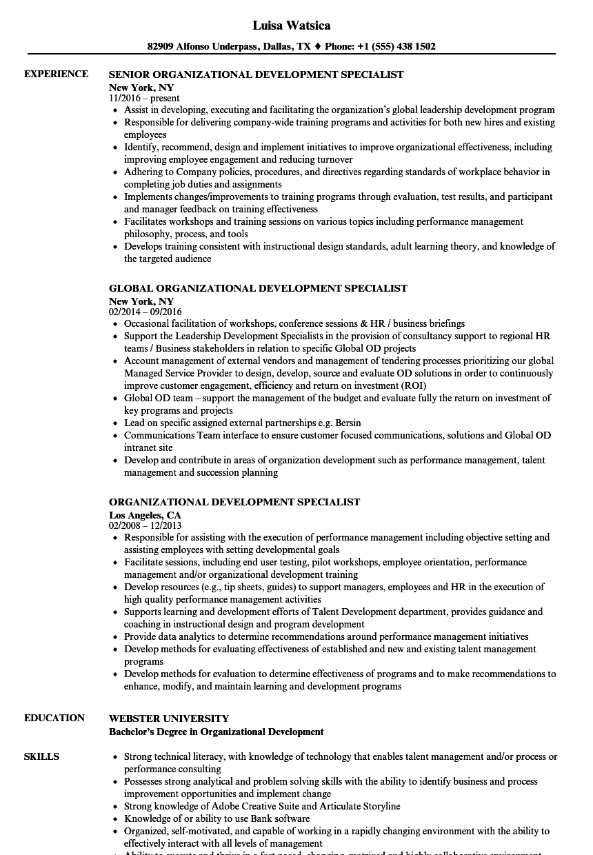 Download Organizational Development Specialist Resume Sample As Image File