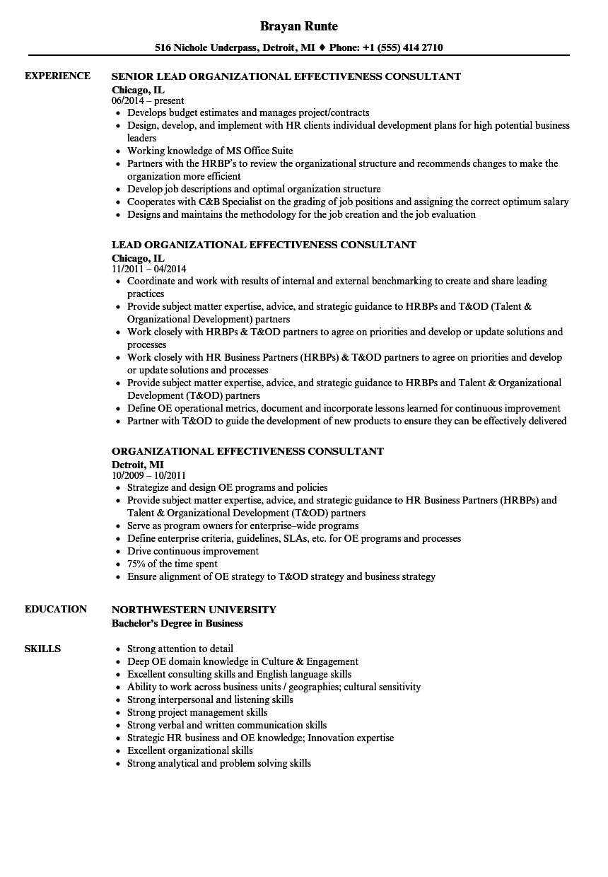 organizational effectiveness consultant resume samples