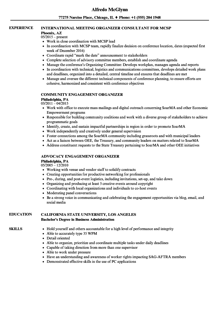 organizer resume samples