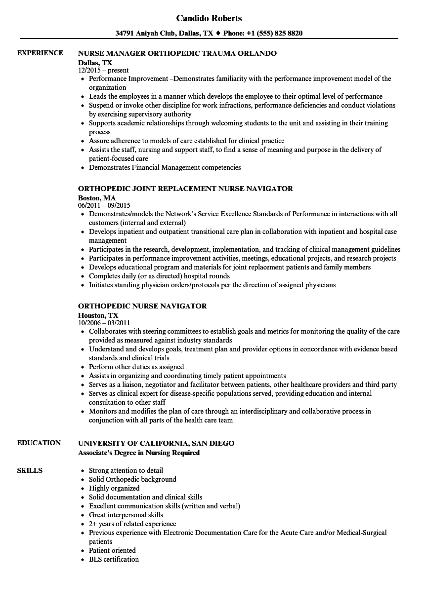 Orthopedic Nurse Resume Samples | Velvet Jobs