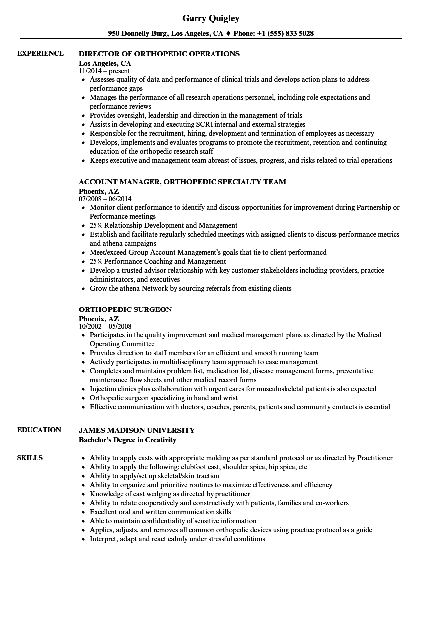 orthopedic resume samples