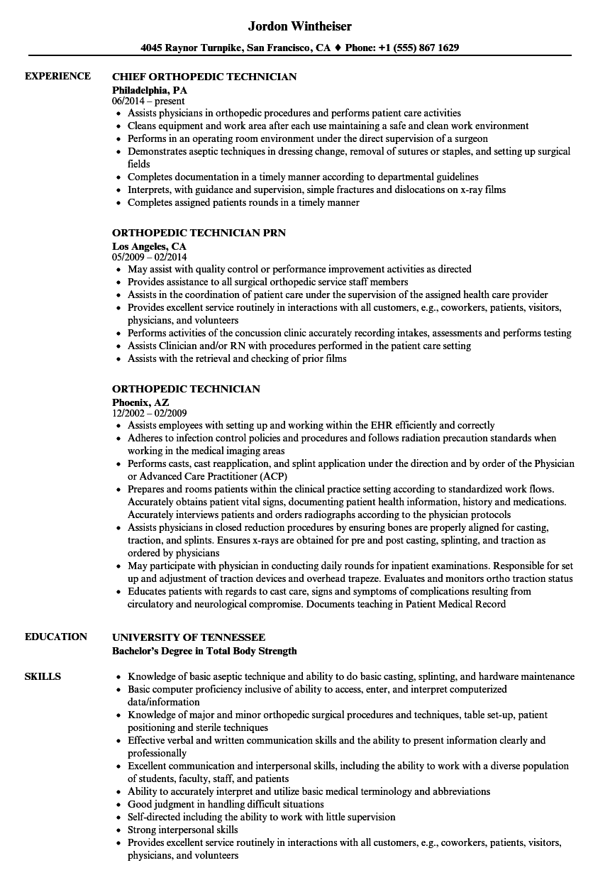Orthopedic Technician Resume Samples