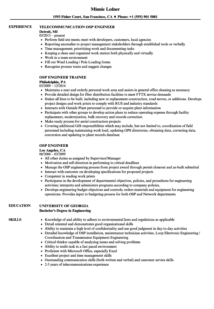 Download OSP Engineer Resume Sample As Image File