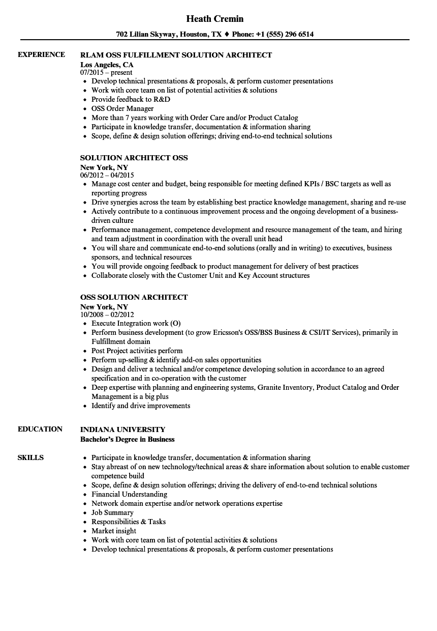 Oss Solution Architect Resume Samples Velvet Jobs