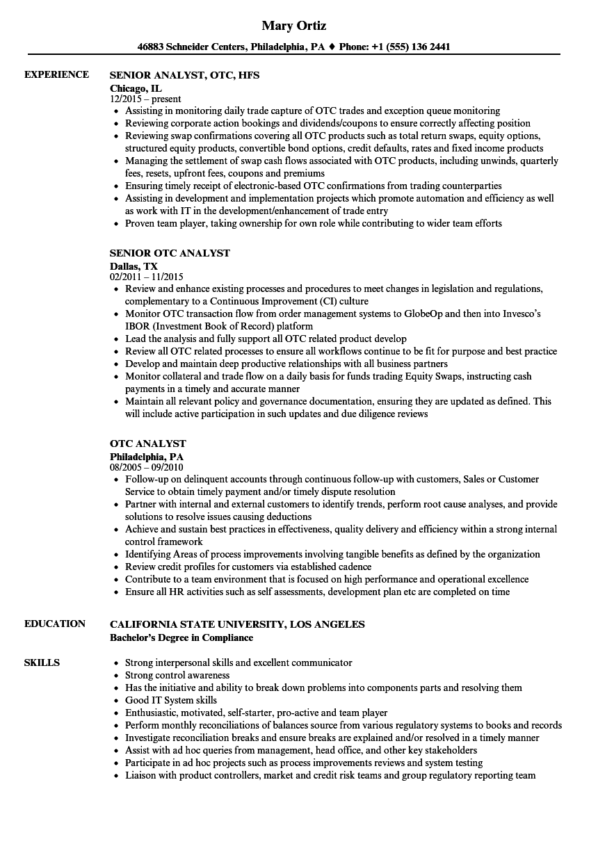 otc analyst resume samples