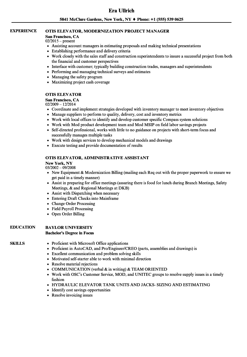 Otis Elevator Resume Samples  Velvet Jobs