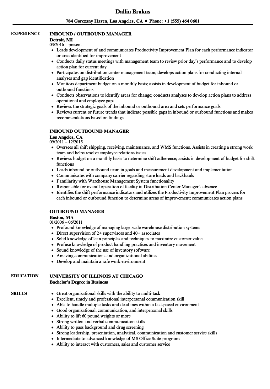 outbound manager resume samples