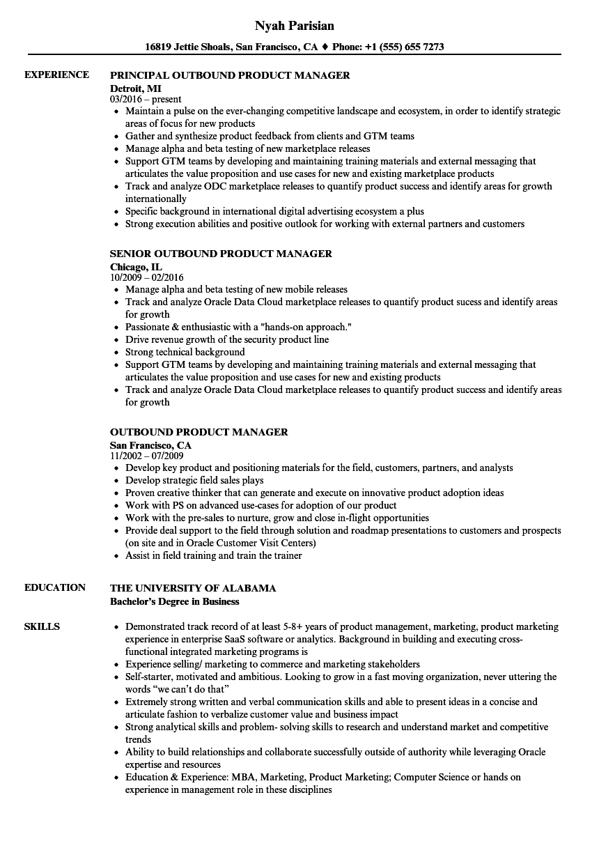 download outbound product manager resume sample as image file - Resume Sample Of Product Manager