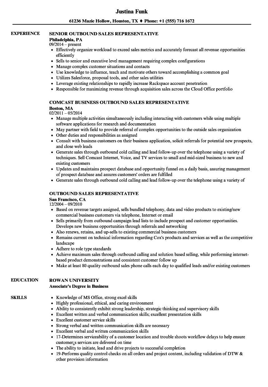 Outbound Sales Representative Resume Samples | Velvet Jobs
