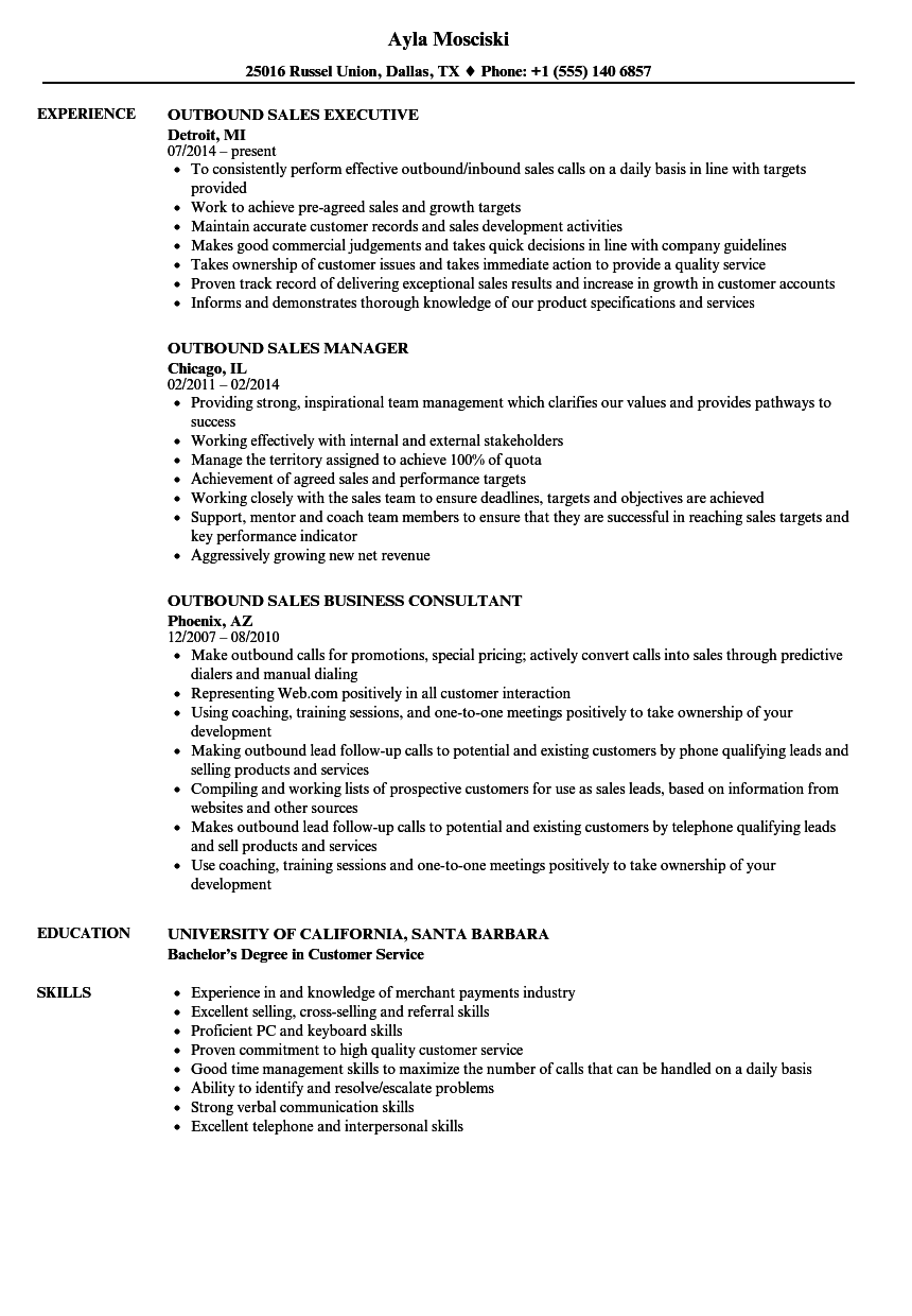 Outbound Sales Resume Samples | Velvet Jobs
