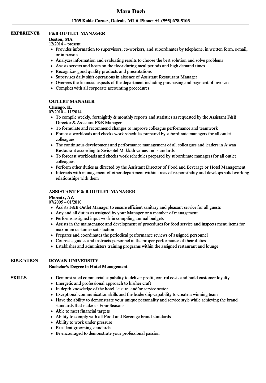 outlet manager resume samples