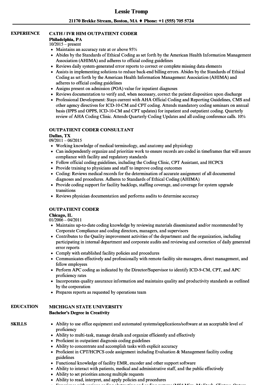 outpatient coder resume samples