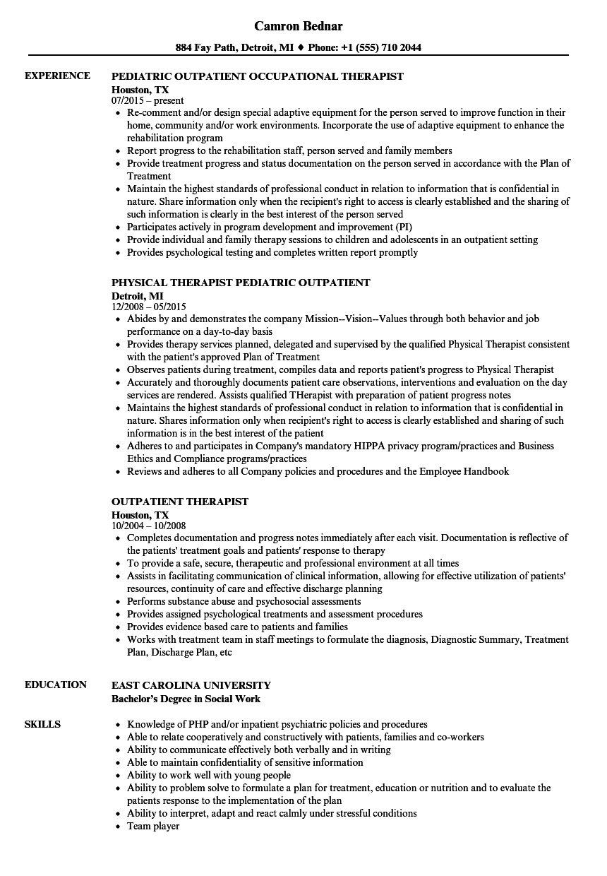 Outpatient Therapist Resume Samples | Velvet Jobs