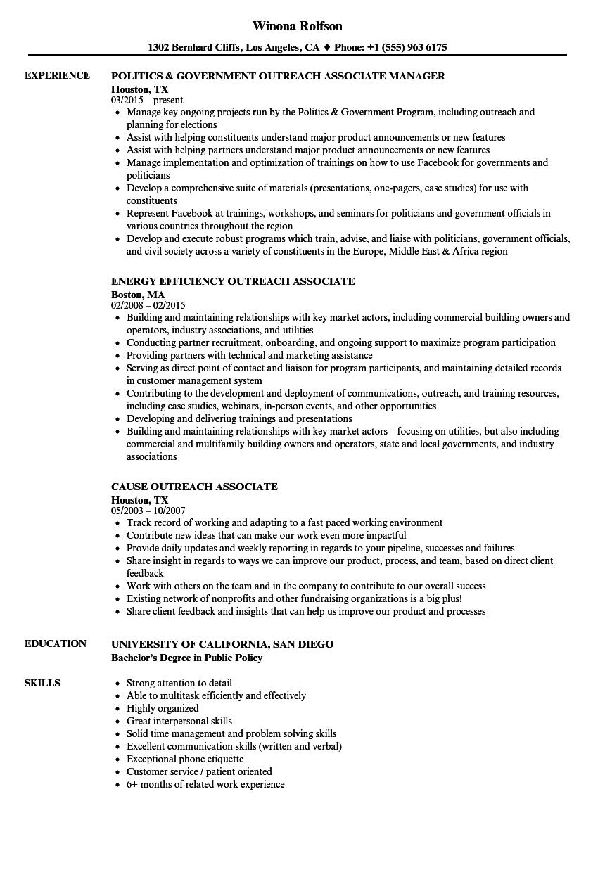 outreach associate resume samples